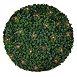 3rd Street Inn Boxwood Lighted Topiary Ball - 15'' Artificial Pre-Lit Christmas Topiary Plant - Indoor/Outdoor Decorative Light Plant Ball - Wedding and Holiday Decor (1-Pack)