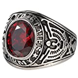 united states army ring - United States Army Military Red CZ Men Vintage US Ring