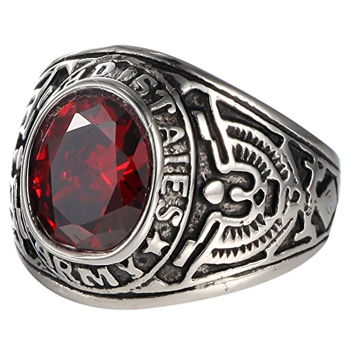 United States Army Military Red CZ Men Vintage US Ring