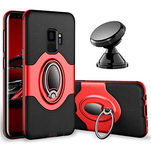 Samsung Galaxy S9 Case - eSamcore Ring Holder Kickstand Cases + Dashboard Magnetic Phone Car Mount [RED]