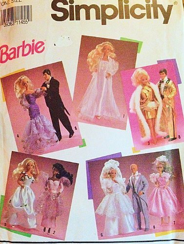 Simplicity 7362, Genuine Barbie Pattern 1990 Matel Trademark Formal Wear for Ken and Barbie Wedding, Elvis