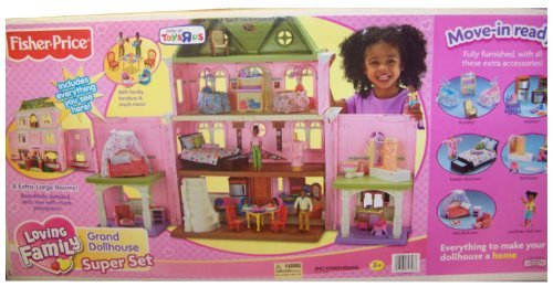 Amazon.com: Fisher Price Loving Family Grand Dollhouse Super Mega Set    African American With Furnitures As Shown In The Rooms: Toys U0026 Games