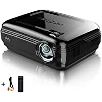 Video Projector PRAVETTE 1080P 3200 Lumens LCD Mini Projector Multimedia Home Theater Portable Projector Support HDMI/USB/AV/Phone/PC/TV/Laptop/Camera (Jet Black)