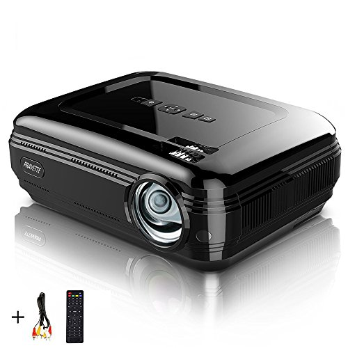 "Video Projector PRAVETTE 1080P LED LCD Mini Projector with +20% Lumens 200"" Projection Screen Home Theater Portable Projector Support HDMI/USB/AV/Phone/PC/TV/Laptop/Camera (Jet Black)"