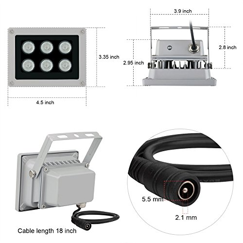 Infrared Illuminator, 850nm 6 LEDs 130 Feet 45 Degree Wide Angle IR Illuminator for Night Vision,Waterproof LED Infrared Light for CCTV Camera, Security Camera