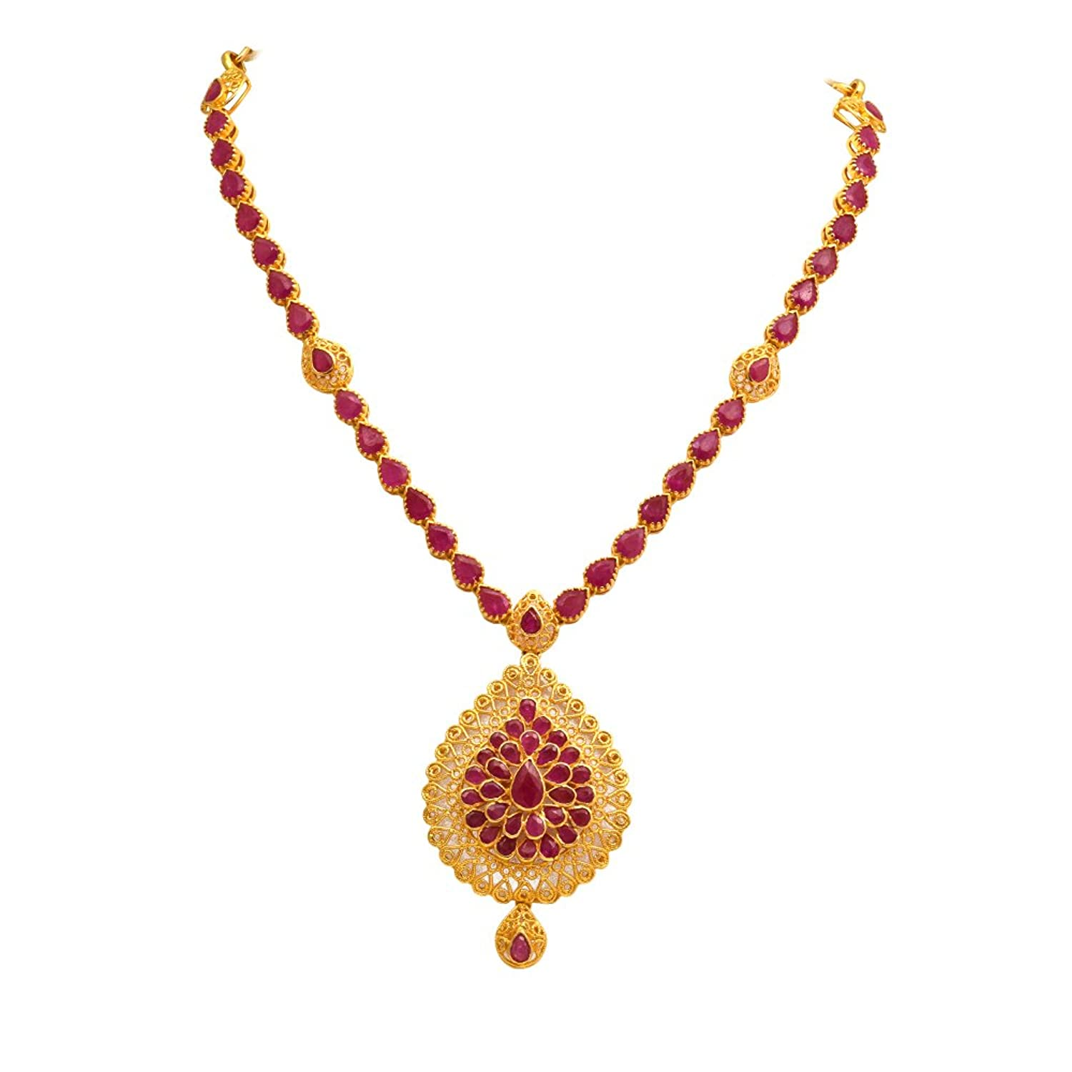 tika ruby product necklace fashion set with eshaal silver