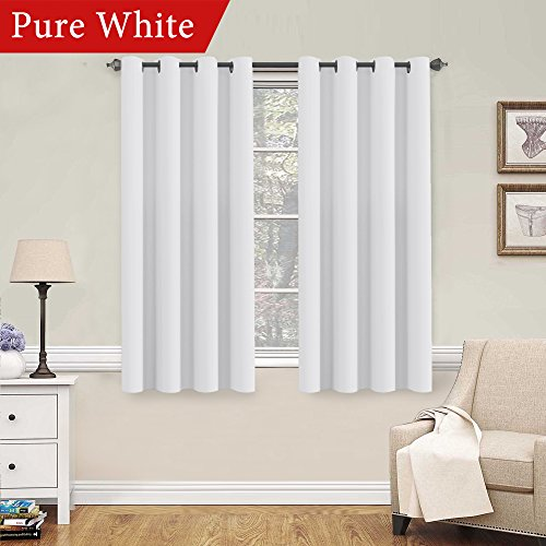 H.VERSAILTEX Pure White Curtains 63 inch Length Window Treatment Panels for Living Room Thermal Insulated Grommet Curtain Drapes (Set of ()