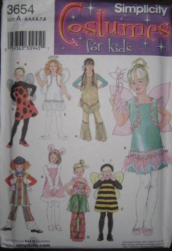 Hula Costumes Patterns - SIMPLICITY PATTERN 3654 GIRLS COSTUMES size