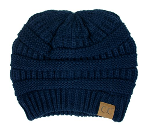 Plum Feathers Soft Stretch Chunky Cable Knit Slouchy Beanie Hat (Navy) (Navy Plum)