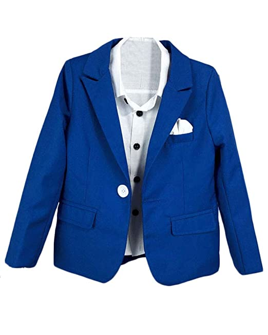 Niño Chico Traje Slim Fit Chaqueta Manga Larga Solapa Abrigo Color ...