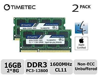 Timetec Hynix IC Apple DDR3 1600MHz PC3-12800 SODIMM Memory upgrade For MacBook Pro 13-inch Early 2011,iMac 21.5-inch Mid 2011, Mac Mini Mid 2011 Server