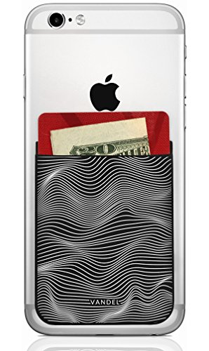 Vandel Pocket: Stick On Fabric Cell Phone Wallet | Credit Card Holder for Back of Smartphone Case | Stretchy Fabric Adhesive Sleeve Compatible with All Devices