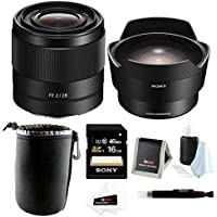 Sony FE 28mm f/2.0 E-mount Prime Lens with Sony SEL057FEC Fisheye Converter Bundle and 16GB Lens Accessory Kit