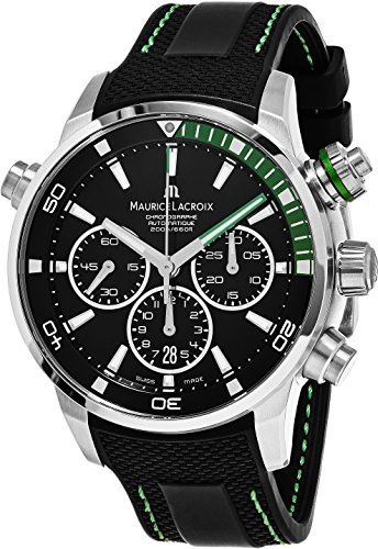 Maurice Lacroix Pontos S Diver Chronograph Mens Watches - 44mm Black Dial Black Rubber Band Swiss Automatic Dive Watch For Men PT6018-SS001-331-1