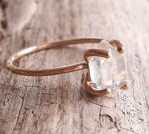 Rose Gold Fill Herkimer Diamond Quartz Crystal Ring
