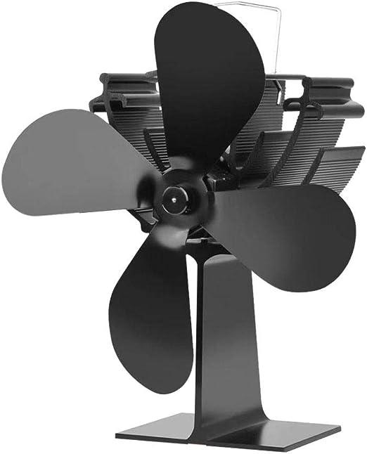 Wood.L Ventilador De 4 Palas para Estufa De Leña O Chimenea, ecológica Ventilador De Estufa Calor con Madera Registro Carbón Estufa Quemador Funcionamiento Silencioso Protección del Medio Ambiente: Amazon.es: Hogar
