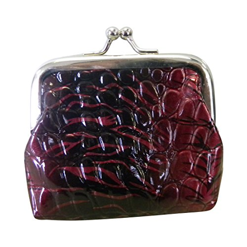 Crocodile Look Leather (Purple Coin Purse with Crocodile Leather Look and Snap Closure (Motique Accessories))