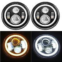 "7"" LED Headlights Bulb with White Halo Angel Eye Ring DRL & Amber Turn Signal Lights for Jeep Wrangler JK LJ CJ Hummer H1 H2"