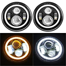 SUNPIE Jeep Wrangler LED Headlights Bulb with Halo Angel Eye Ring & DRL & Turn Signal Lights for Jeep JK LJ CJ Hummer H1 H2