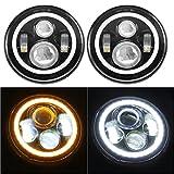 "SUNPIE 7"" LED Headlights Bulb with Halo Angel Eye Ring & DRL & Turn Signal Lights for Jeep Wrangler JK LJ CJ Hummer H1 H2"
