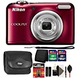 Nikon COOLPIX A10 16.1 MP Digital Camera (Red) + 24GB Memory Card + Wallet + Extra Batteries + Dust Blower + Lens Pen + Case + 3pc Cleaning Kit