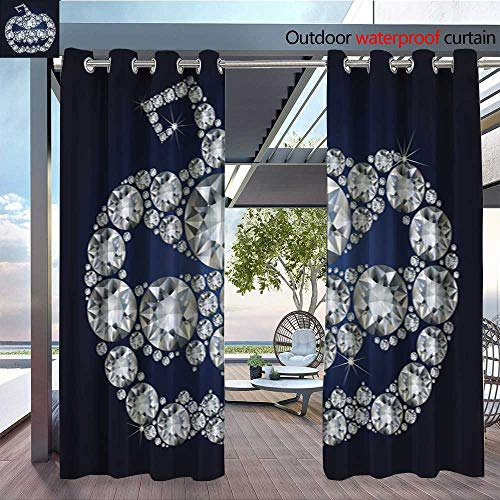 (QianHe Dance Outdoor Indoor Curtain - Halloween-Pumpkin-Made-up-a-lot-of-Diamonds.jpg Waterproof Patio Curtain W84 x L84(214cm x)