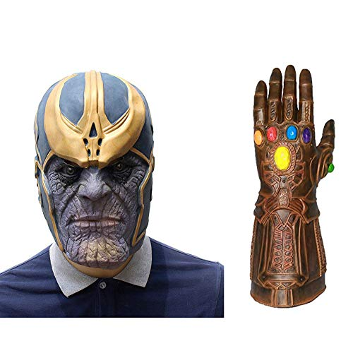 Halloween Avengers Infinity War Cosplay Thanos Mask Costume Party Props Deluxe Latex Face Mask with Infinity Gauntlet Glove -