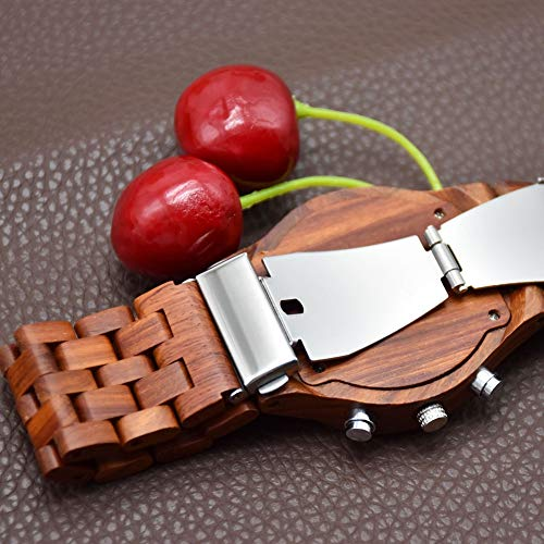 Hxl herr träklocka simulering kvartsur simulering rörelse med handgjorda träremmar och kalender
