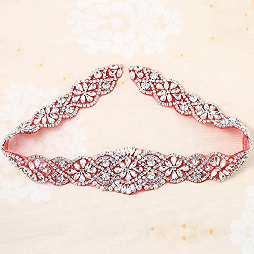Crystal Applique with Red Back Adhesive, FANGZHIDI Beaded Applique with Silver Rhinestone Claw- Best for DIY on Wedding Dress, Bridal Belt Sash