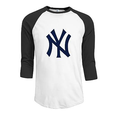 Amazon.com  Men s Activewear 3 4 Sleeve Raglan Yankees Logo Baseball ... d52cd0623fc