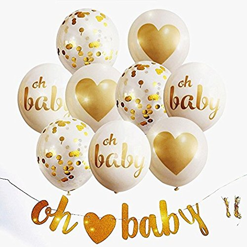 Baby Shower Party Decorations | Neutral Decor | Beautiful Banner (OH BABY), 9 PC Balloons (GOLD, CONFETTI, WHITE), and Ribbon Party Set | Hang Anywhere | Glitter Unisex Pregnancy Announcement Party Glitter Stationery Set
