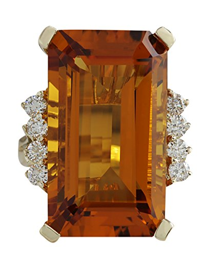 19.3 Carat Natural Yellow Citrine and Diamond (F-G Color, VS1-VS2 Clarity) 14K Yellow Gold Cocktail Ring for Women Exclusively Handcrafted in -