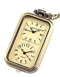 AMPM24 Brass Yellow Oblong Pendant Pocket Women Lady Necklace Quartz Watch Chain WPK040