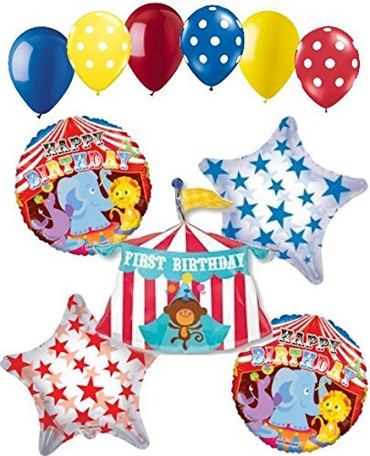 11 pc Circus Tent 1st Happy Birthday Balloon Bouquet Decoration Party -
