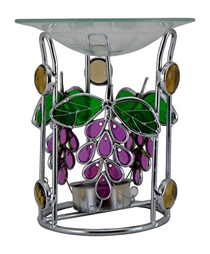 Silver Metal Purple Grapes Theme Tealight Oil Warmer (Tea Theme)