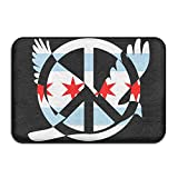 Chicago Flag Peace Sign Symbol Indoor Outdoor Entrance Rug Non Slip Bath Rugs Doormat Rugs Home