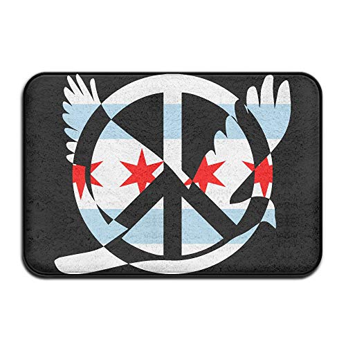 Chicago Flag Peace Sign Symbol Indoor Outdoor Entrance Rug Non Slip Bath Rugs Doormat Rugs Home by HONMAt-Non