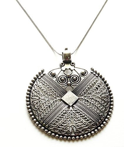 Sansar India German Silver Pendant Indian Necklace Jewelry for Girls and Women