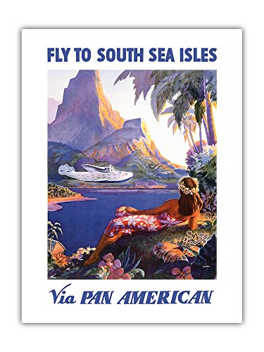 Fly to South Seas Isles via Pan American - Pan American Airways (PAA) - Vintage Airline Travel Poster by Paul George Lawler c.1940s - Premium 290gsm Giclée Art Print - 18in x 24in ()