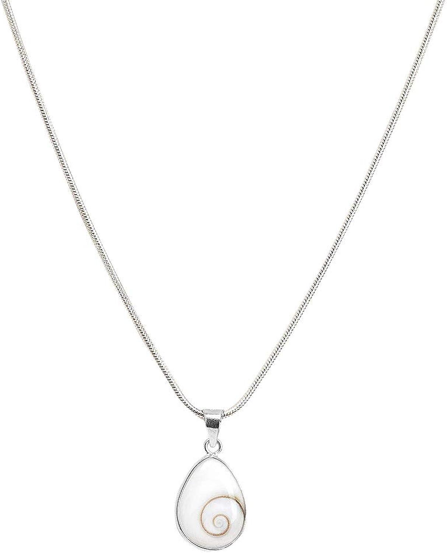 Vurmashop Collar Plata de Ley 925 - Colgante Ojo de Shiva Piedra de Santa Lucía - Colgante pequeño Blanco Mujer - Joyería Concha Natural Marina