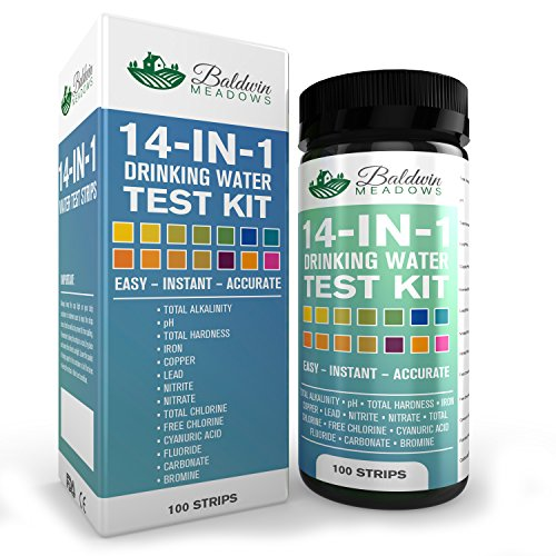14 In 1 Drinking Water Test Kit   Best Water Quality Test For Well Water And Tap Water   Determines Ph Lead Total Hardness Copper Alkalinity Chlorine Fluoride Iron Nitrite Nitrate   More   100 Count