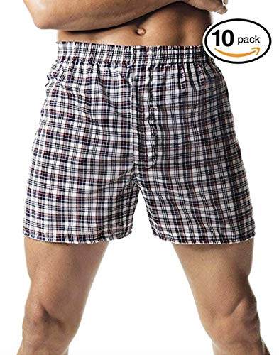 Hanes Red Label Men's 10-Pack Blue Plaid Woven Boxer (Large, Fashion (Red Plaid Woven Boxer)
