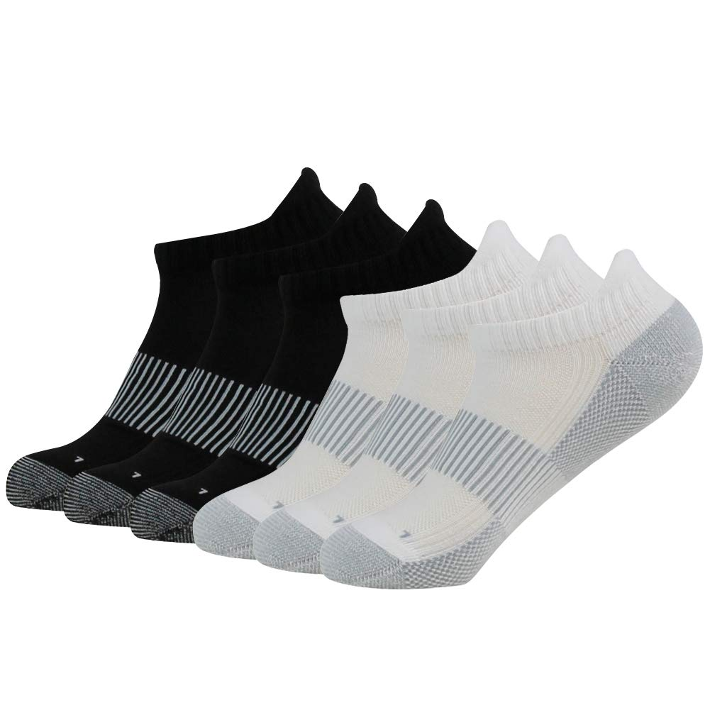 FOOTPLUS Men Women Boys Girls Ankle Arch Support Seamless Toe Cushioned Sole Moisture Wicking Copper Infused Golf Socks, 3 Black& 3 White, Medium by FOOTPLUS
