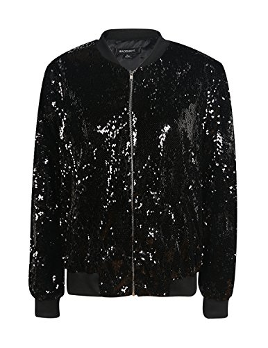 HaoDuoYi Womens Casual Lightweight Sequin Zipper Bomber Jacket (XX-Large, Black)