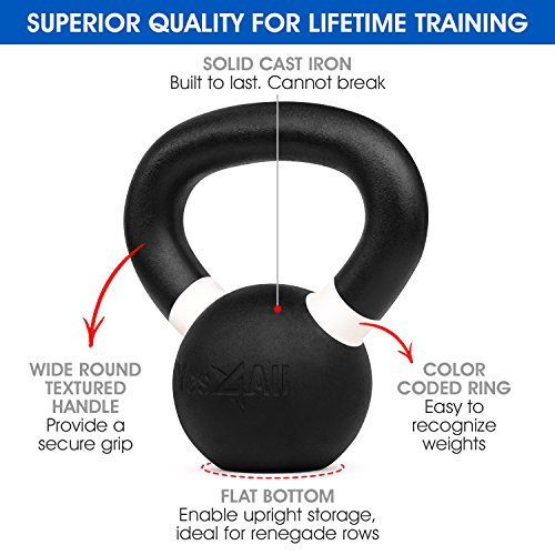 Yes4All Cast Iron Competition Weight Kettlebell – Multi Color & Weight Available: 4, 6, 8, 12, 16, 20, 24, 32, 40 kg