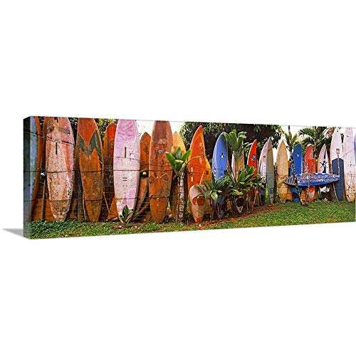 Canvas on Demand Premium Thick-Wrap Canvas Wall Art Print entitled Arranged surfboards, Maui, Hawaii 60