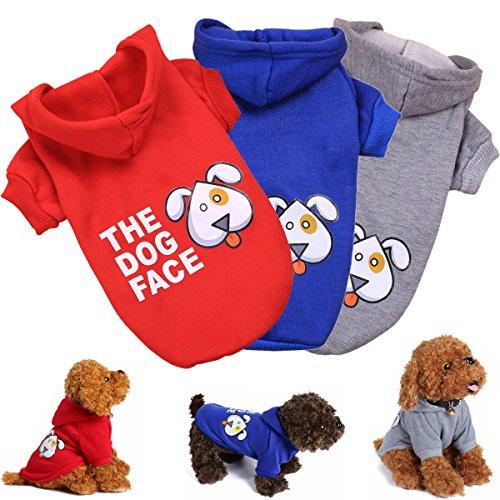 3 Pack Basic Dog Hoodies - KINGMAS Pet Clothes Cat Puppy Coat Sweatshirt - (Basic Dog Hoodie Sweatshirt)