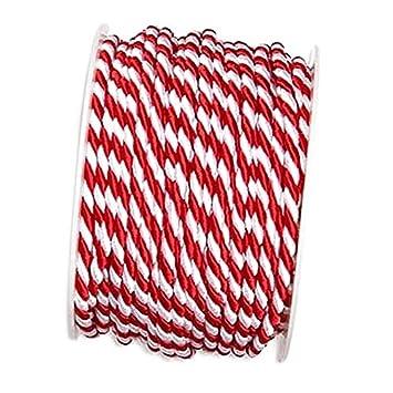 Kordel rot//weiß ohne Draht 2-4-6mm //// 4mm// 25 Meter 2-farbig gedreht