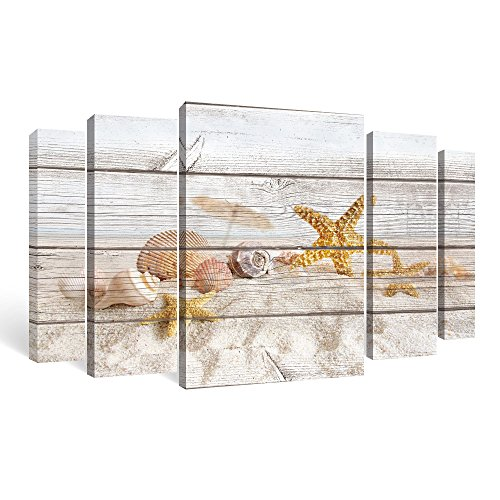 SUMGAR Large Wall Art Living Room Beach Pictures 5 Piece Ocean Canvas Paintings Coastal Seaside Artwork Yellow Prints Seashell Starfish Decor (Living Coastal Furniture Ideas)