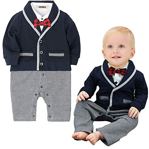 - ZOEREA Baby Boys Romper Suits Bow Tie Baptism Wedding Tuxedo Jumpsuit Cotton,Label 70/Age 6-9 Months,Navy
